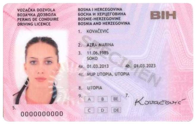 Muster einer EU Fahrerlaubnis aus Bosnien-Herzegowina
